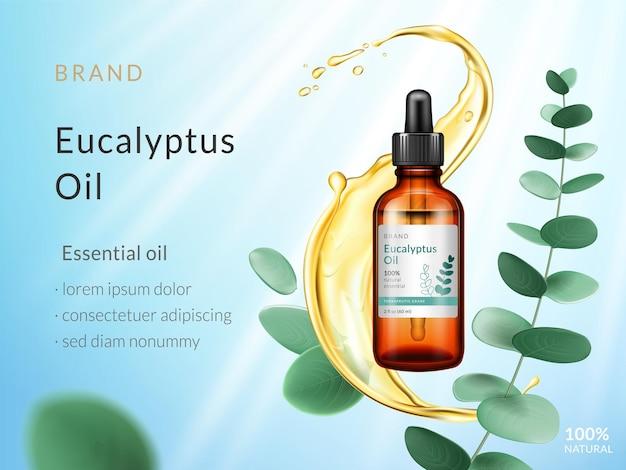 Anzeigen für ätherische eukalyptusöle. flüssiges spritzen mit zweig- und eukalyptusblättern lokalisiert auf blauem himmelhintergrund mit sonnenstrahlen. vektor 3d illustration.