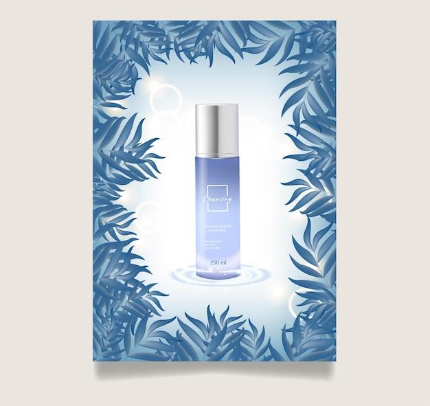 Anzeigen für hautpflegeprodukte mit blauen flaschen auf blauen blättern in 3d-darstellung