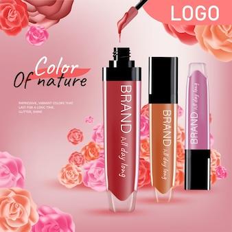 Anzeigen modekosmetikkollektion lippenstift mit rosenblütenblättern pastellfarben stil organisch
