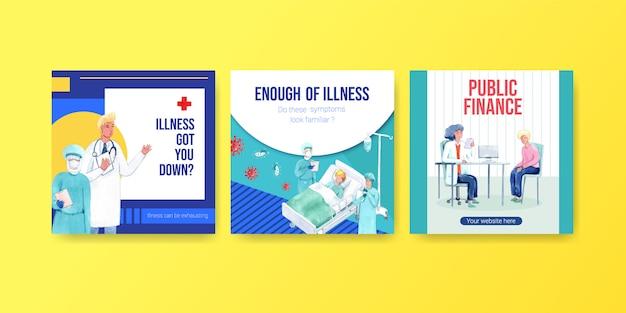 Anzeigen- oder broschürendesign mit informationen zu krankheit und gesundheitswesen