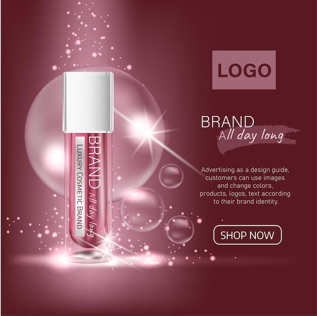 Anzeigen rote luxuskosmetik mit professionellem gesichtsserum auf dem hintergrund von wellen und lichteffekt