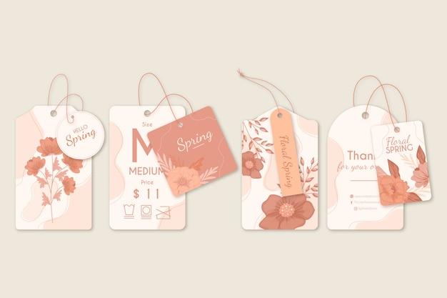 Anzeigen von etiketten und frühlingsblumenbügeln