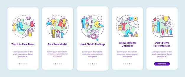 Anzeigen von tipps zum onboarding des seitenbildschirms der mobilen app. anleitung zur psychischen gesundheit von kindern in 5 schritten mit grafischen anweisungen mit konzepten. ui-, ux-, gui-vektorvorlage mit linearen farbillustrationen