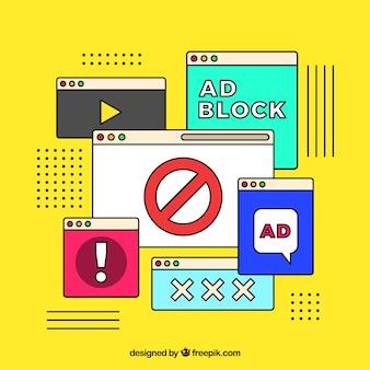 Anzeigenblock-popup-konzept in der flachen art