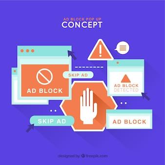 Anzeigenblockkonzept mit flachem design