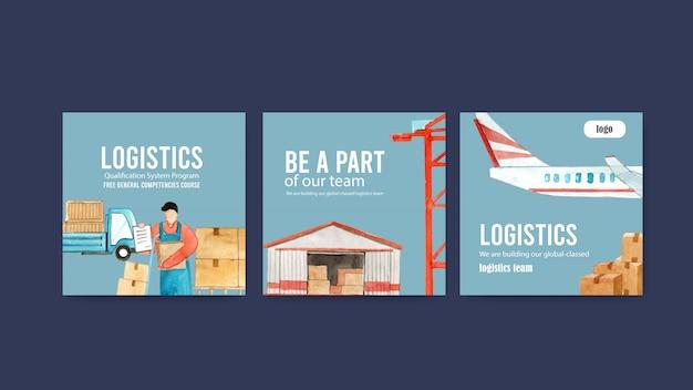 Anzeigenentwurf mit logistikkonzept, kreativem flugzeug, lkw-aquarell-satzillustration.