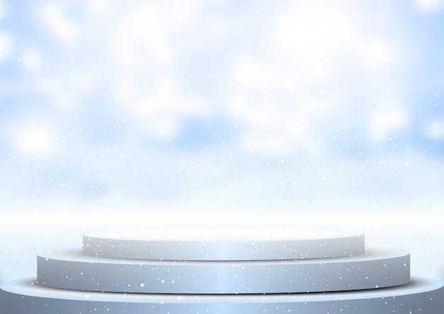 Anzeigenpodium gegen unscharfen winterhintergrund