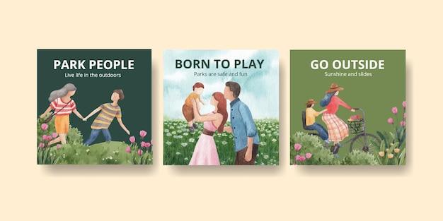 Anzeigenschablone mit aquarellillustration des park- und familienkonzeptdesigns