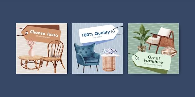 Anzeigenschablone mit jassa möbelkonzeptentwurf für werbung und vermarktung aquarellvektorillustration