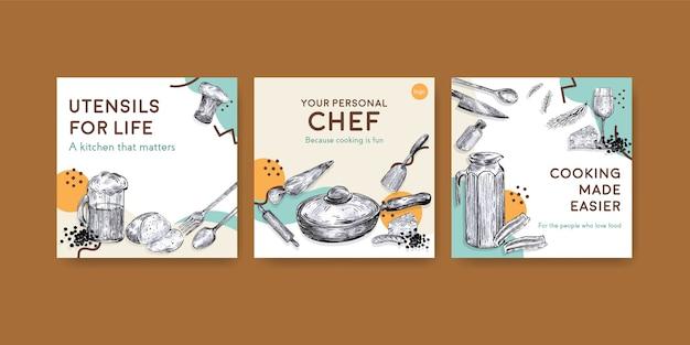 Anzeigenschablone mit küchengerätekonzeptentwurf für vektorillustration werben