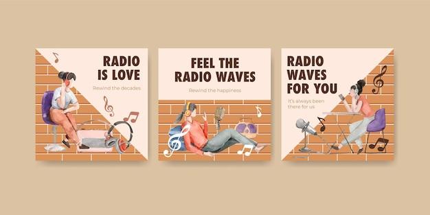 Anzeigenschablone mit weltradiotag-konzeptentwurf für marketing- und geschäftsaquarellillustration