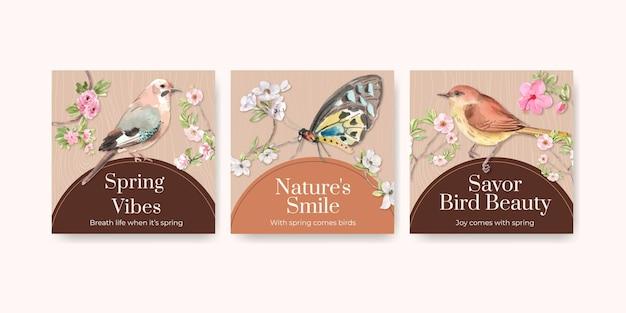 Anzeigenschablonensatz mit vogel- und frühlingskonzept