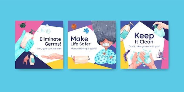 Anzeigenvorlage mit globalem handwaschtag-konzeptdesign für werbung und flugblattaquarell