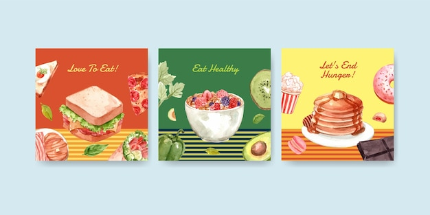 Anzeigenvorlage mit konzeptentwurf des welternährungstages für werbung und vermarktung von aquarell