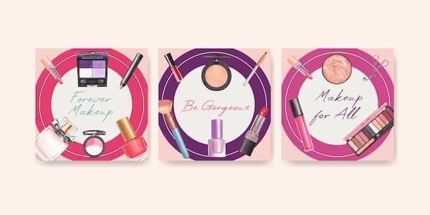 Anzeigenvorlage mit make-up-konzeptentwurf für marketing- und geschäftsaquarell.