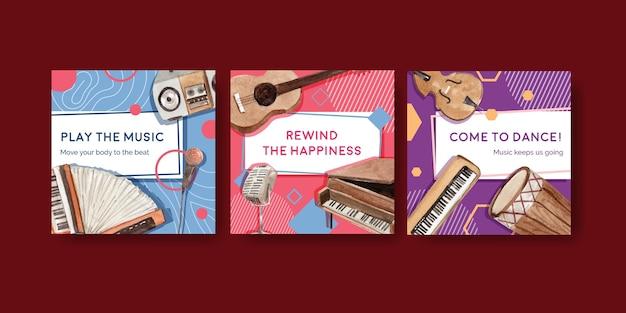 Anzeigenvorlage mit musikfestival-konzeptentwurf für anzeigen und vermarktung aquarellvektorillustration