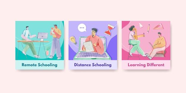 Anzeigenvorlage mit online-lernkonzept