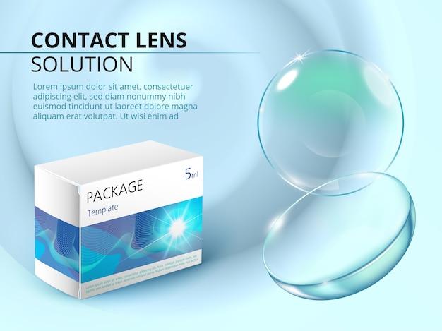 Anzeigenvorlage mit realistischer kontaktlinse, wasserspritzer und medikamentenpaket.