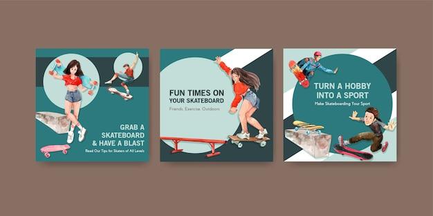 Anzeigenvorlage mit skateboard-designkonzept für werbung und faltblattaquarellvektorillustration.