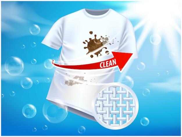 Anzeigenvorlage oder magazin. anzeigenplakatdesign auf blauem hintergrund mit weißem t-shirt und flecken