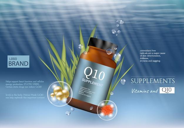 Anzeigenvorlage q10 mit produktpaket ergänzen. tiefsee-hintergrund. 3d-darstellung.