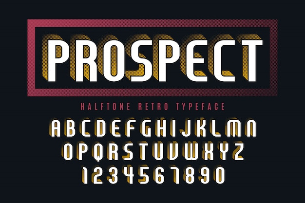 Anzeigeschrift mit halbtonschatten, alphabet