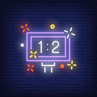Anzeigetafel auf ziegelsteinhintergrund. neon-artillustration. fußball, fußball, basketball.