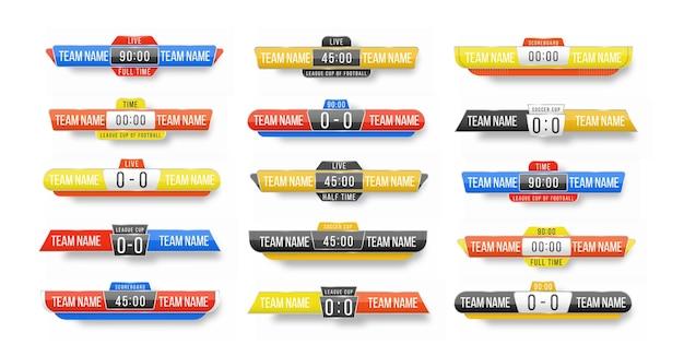 Anzeigetafel broadcast-grafik und untere drittel vorlage für sport fußball, fußball. broadcast score banner. sportanzeigetafel mit zeit- und ergebnisanzeige.