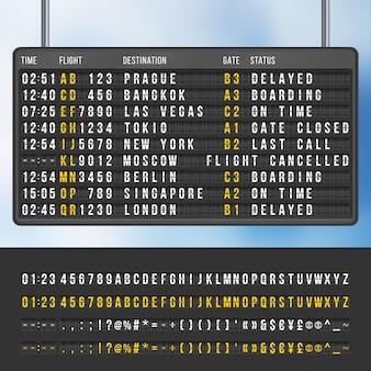 Anzeigetafel für informationen zur ankunft von flughäfen