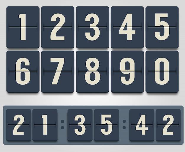 Anzeigetafelcountdown-timer-vektorillustration lokalisiert auf weißem hintergrund