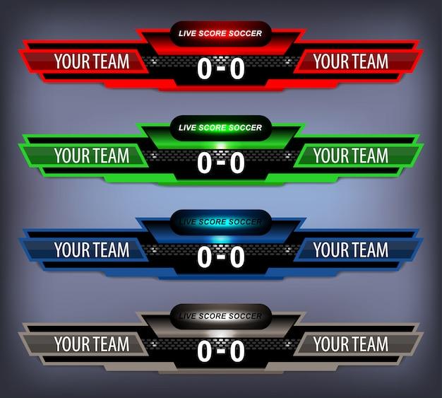 Anzeigetafelsportschablone für fußball und fußball