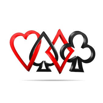 Anzug von spielkarten. vektorillustrationssymbole lokalisiert auf weißem hintergrund