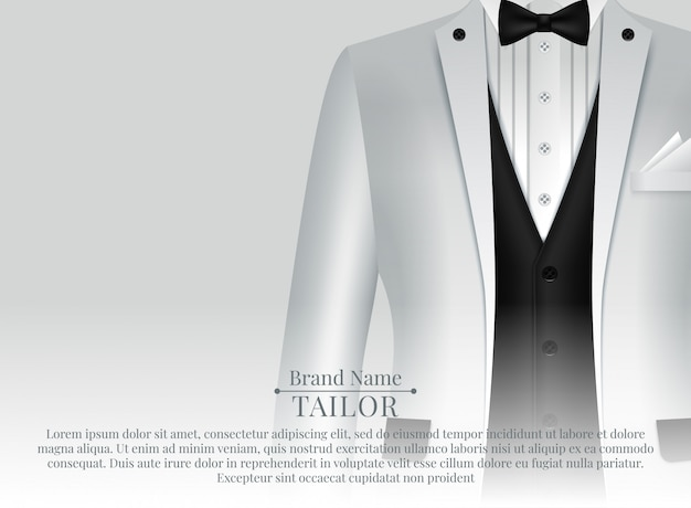 Anzugschablone mit abendgarderobe und weißem hemd in der realistischen art