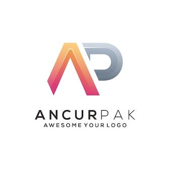 Ap-buchstaben-gradienten-logo-abbildung abstrakt