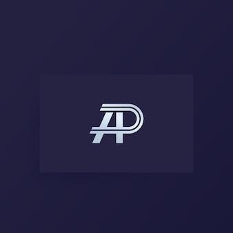 Ap-buchstaben, vektormonogramm, logo auf karte