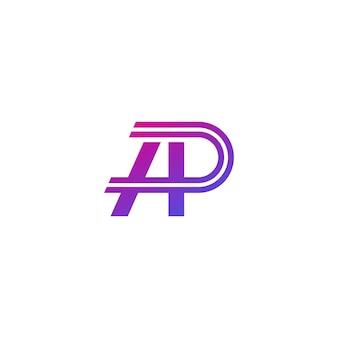Ap-buchstaben, vektormonogramm, logodesign