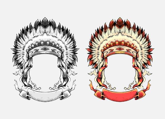 Apace-häuptling-hut-illustrationssatz. geeignet für t-shirt, print und merchandise-produkte