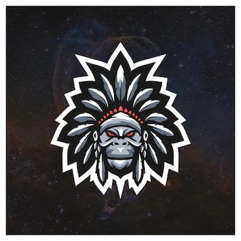 Apache gorilla e-sport logo-konzept
