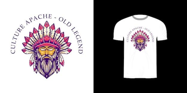 Apache illustration für t-shirt design