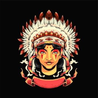 Apache-mädchen illustration. geeignet für t-shirt, print und merchandise-produkte