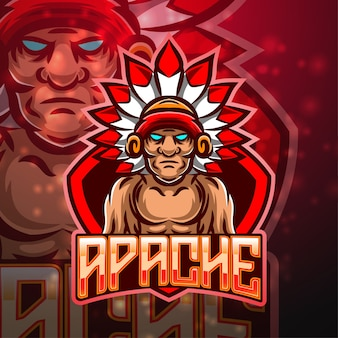 Apache sport maskottchen logo design