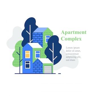 Apartmentkomplex, wohngegend, hausbau und entwicklung