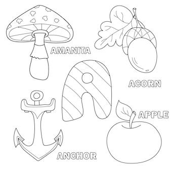 Apfel, anker, wulstling, eichelbuchstabe a im kinderalphabet. handgezeichnete umriss-cartoon-figur und brief für kinderschrift, für babyentwicklungskarte, kinder abc