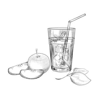 Apfel-fruchtsaft-skizze.