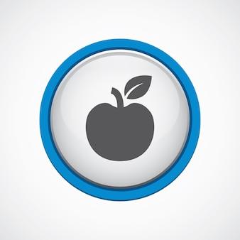 Apfel glänzend mit blauem strichsymbol, kreis, isoliert