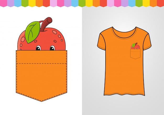 Apfel in hemdtasche.