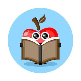 Apfel-lesebuch-maskottchen-charakter-logo
