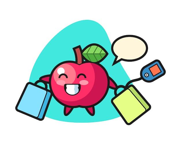 Apfel-maskottchen-karikatur, die eine einkaufstasche hält