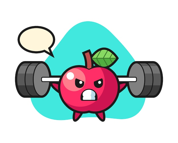 Apfel-maskottchen-karikatur mit einer langhantel