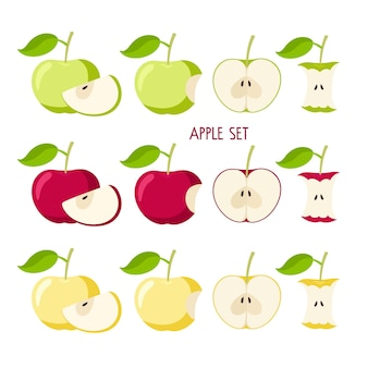 Apfel-set flaches symbol rot gelb grün apfelfrucht mit blatt ganze gebissene schnittkerne bauer
